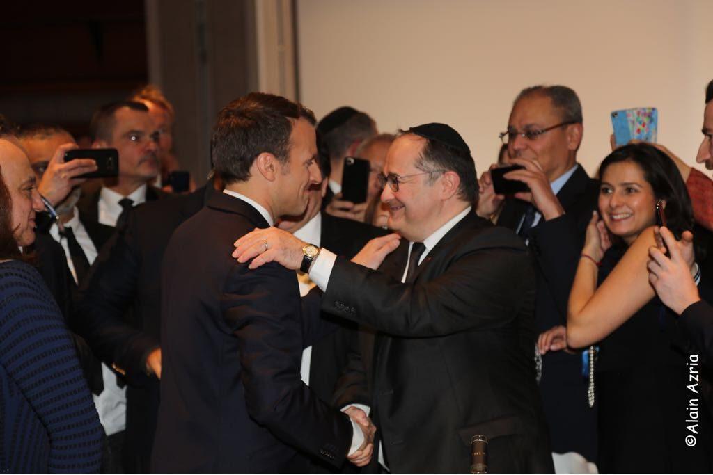 Ariel Goldmann et Emmanuel Macron au Dîner du CRIF